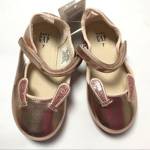 Baby Gap Flats Rabbit Bunny Ear Girls Shoes 7 Gold